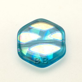 Blue Pearl Hexagon 17mm Pressed Czech Glass Bead