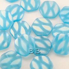 Blue Shimmer Matt Hexagon 17mm Pressed Czech Glass Bead