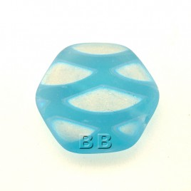 Blue Shimmer Matt Hexagon 17mm Pressed Czech Glass Bead - Retail system