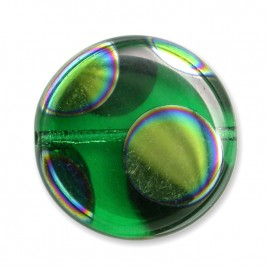 Bright Green Peacock disc 17mm Pressed Czech Glass Bead