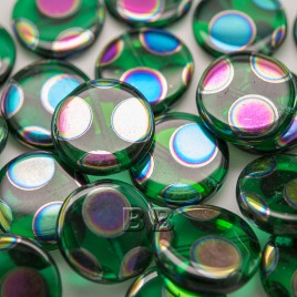 Bright Green Peacock disc 17mm Pressed  Glass Bead - Retail system