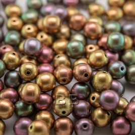 Brushed Mixed Copper metallic 6mm round Czech glass druk beads