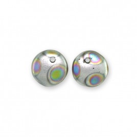 Brushed Silver 6mm Peacock glass bead drop