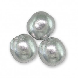 Brushed Silver metallic 6mm round glass beads - Retail system