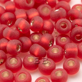 Cherry Red matt silver lined size 5/0 -seed beads- Retail system