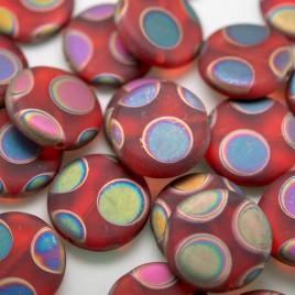 Chrysanthemum Matt Peacock Disc 17mm Pressed Czech Glass Bead