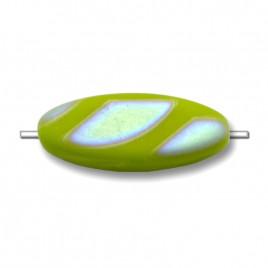 Citronelle Peacock matt  15x6mm Oval Glass Pressed Czech Bead