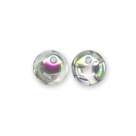 Clear 6mm Peacock glass bead drop