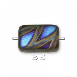 Clear Coppery Peacock Rectangular Matt 12x8mm Pressed Glass Bead - Retail system
