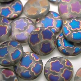 Clear Flower Peacock Matt Disc 17mm Pressed Czech Glass Bead