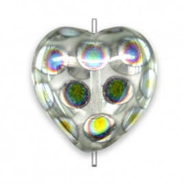 Clear peacock  Heart 16x15mm Pressed Czech Glass Bead - Retail system
