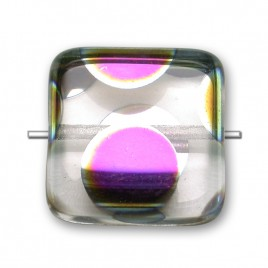 Clear Peacock Square 15x15mm pressed glass bead - Retail system