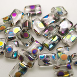 Clear Rainbow Peacock Rectangular 12x8mm Pressed Czech Glass Bead - Retail system