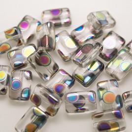 Clear Rainbow Peacock Rectangular 12x8mm Pressed Czech Glass Bead