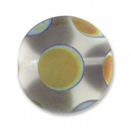 Clear Spot  Matt Peacock Disc 17mm  Pressed Czech Glass Bead