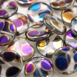 Clear Spot Peacock Disc 17mm Pressed Glass Bead - Retail system