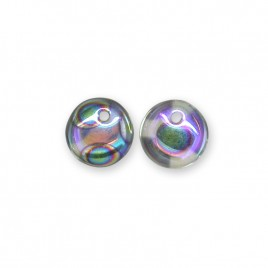 Clear with Lustre 6mm Peacock glass bead drop