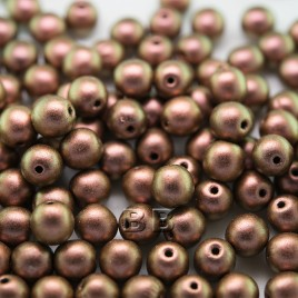 Copper Rose metallic 6mm round Czech glass druk beads