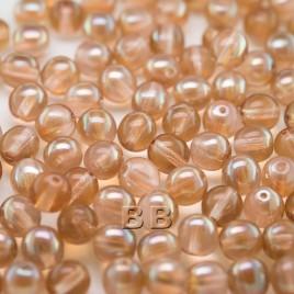 Cream Pink 6mm round Czech glass druk beads