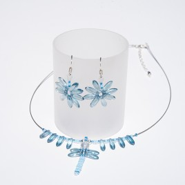 Crystal Blue Dragonfly Pendant Seed Bead Colorway