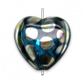 Dark Aqua peacock Heart 16x15mm Pressed Czech Glass Bead- Retail system