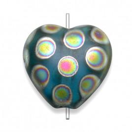 Dark Aqua Peacock  Matt Heart 16x15mm Pressed Glass Bead
