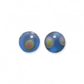 Dark Blue Matt 6mm Peacock glass bead drop