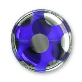 Dark Blue Peacock Disc 17mm Pressed Czech Glass Bead