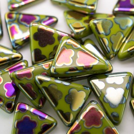 Dark Citron Peacock Triangle 15x19mm  Pressed Czech Glass Bead