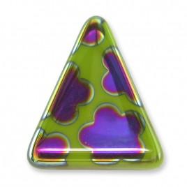 Dark Citron Peacock Triangle 15x19mm  Pressed Czech Glass Bead