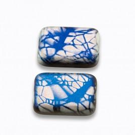Strong Blue Batik 12x8mm matt metallic rectangle with a 0.8mm hole.