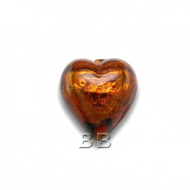 Dk.Topaz Heart 12mm Silver Foil Czech Glass Lampwork Bead