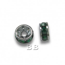 Emerald 4.5mm Black Plate Czech Crystal Rhinestone Rondelles