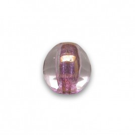 Feather Pink 8mm Tricon Cut, Golden Finished Fire Polished Glass Bead - Retail system