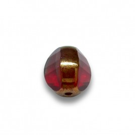 Fire Red 8mm Tricon Cut, Golden Finished Fire Polished Glass Bead - Retail system