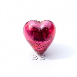 Fuchsia Heart 12mm Silver Foil Czech glass Lampwork Bead