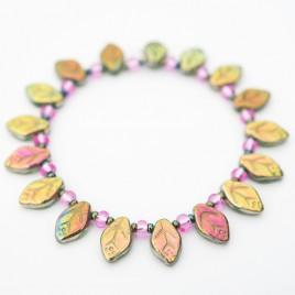 Gold & Green Fairy Leaf Bracelet