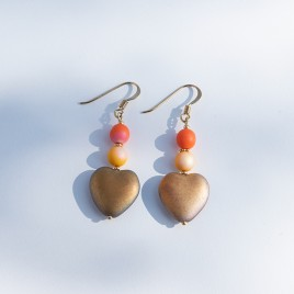 Golden Heart Bead Earrings – Sterling Silver (gold finish) components.
