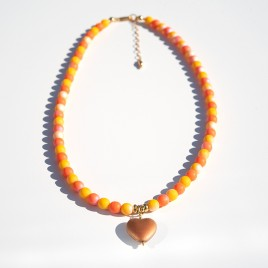 Golden Heart Bead Necklace – Sterling Silver (gold finish) components.