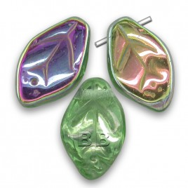 Green & Clear, lustered metallic wavy leaf 12x7mm glass drop bead