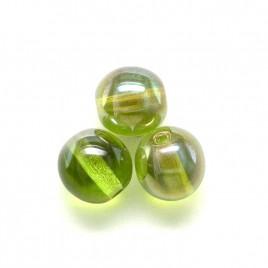Green Oasis 6mm round Czech glass druk beads