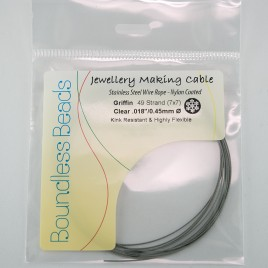 "Griffin Beading wire Clear Coated 7x7 Cable 0.45mm/.018"" Dia"