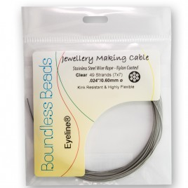 """Griffin Beading Wire Clear Nylon coated 7x7 Cable 0.60mm/.024"""" Dia. - Retail system"""