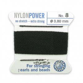 Griffin Nylon Power Bead Cord Black with integral needle 0.80mm Diameter