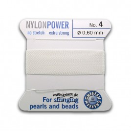 Griffin  Nylon Power Bead Cord White with integral needle 0.60mm Diameter