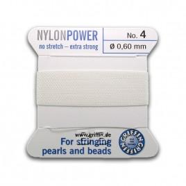 Griffin  Nylon Power Bead Cord White with integral needle 0.60mm Diameter