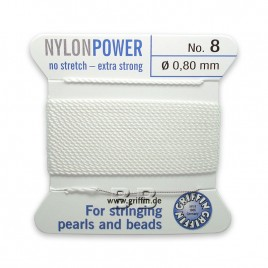 Griffin Nylon Power Bead Cord White with integral needle 0.80mm Diameter