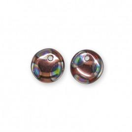 Half Coated Copper 6mm Peacock glass drop bead