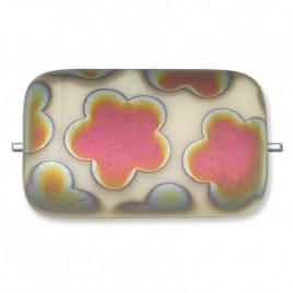Ivory Matt 19x12mm rectangular pressed glass bead