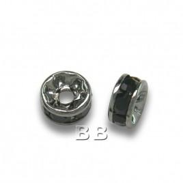 Jet 4.5mm Black Plate Czech Crystal Rhinestone Rondelles